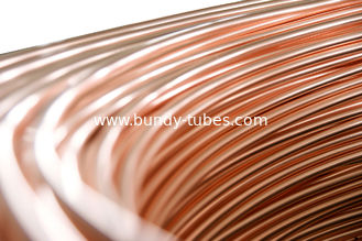 China Steel Copper Coated Tube , Welded Bundy Pipe 6.35mm X 0.65 mm supplier